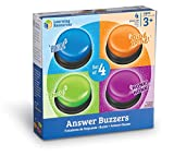 Learning Resources Answer Buzzers, Set of 4 Assorted Colored Buzzers, Game Show Buzzers, 3-1/2in, Multicolor, Ages 3+