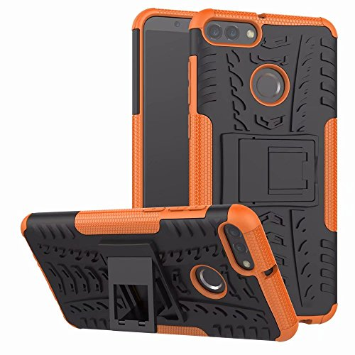 - for Huawei Cellphone Texture Pattern Double-Layer Hybrid Armor Fence 2, Huawei Y9 2018 / Huawei 1 Shockproof Shell Cover, Enjoy 8 Afterburner (Color : Orange)