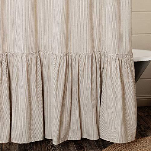 Piper Classics Sara's Ticking Ruffled Shower Curtain, 72