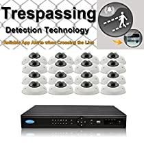 OwlTech 16 Channel Trespassing Detection NVR up to 5MP Resolution + 16 x 720P 1.3MP 3.6mm Hotel Style IP Dome Camera (NO LED) WDR + POE + 4TB HDD + 100ft cable and accessories