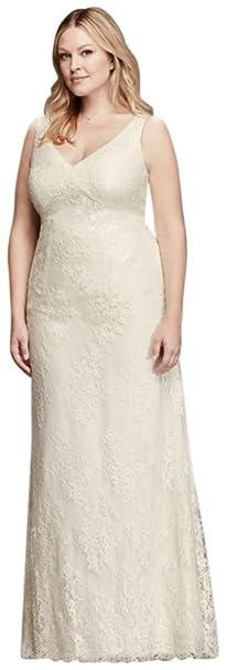 David\'s Bridal V-Neck Plus Size Wedding Dress with Empire ...
