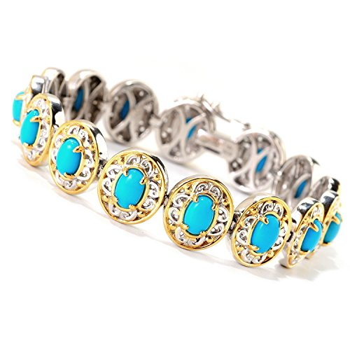 Michael Valitutti Palladium Silver Oval Sleeping Beauty Turquoise North-South Tennis Bracelet