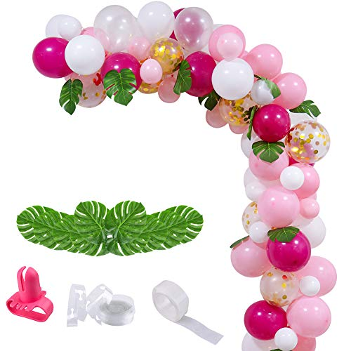 UTOPP 70PCS Tropical Flamingo Party Balloons Arch and Garlands Decorations Kit, Hawaiian Party Balloons Hot pink and Gold White and Pink balloons for Birthday Wedding Bachelorette Baby -