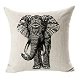 Hangood Cotton Linen Throw Pillow Case Cushion Covers Cover Elephant 18 x 18 inches