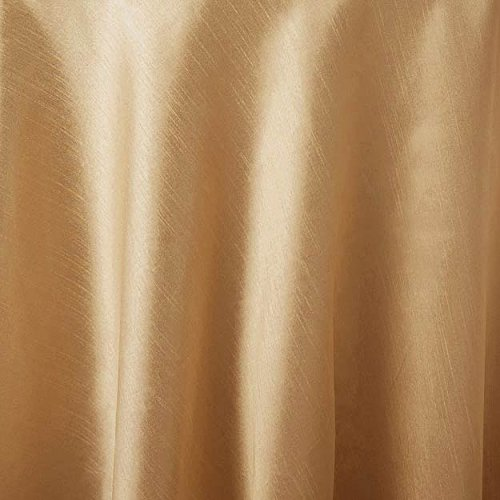 Bright Settings 70 Inch Round Tablecloth, Supernova Shantung, Gold
