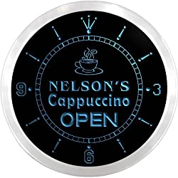 ncx0251-tm Nelson's Cappuccino Coffee Open Custom Name Neon Sign Clock