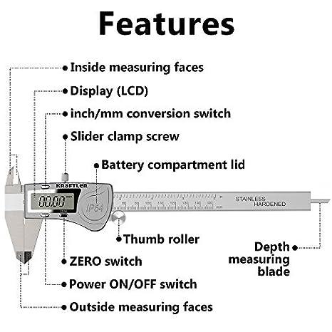 Preciva Digital Caliper 150mm inner diameter outer diameter depth step me