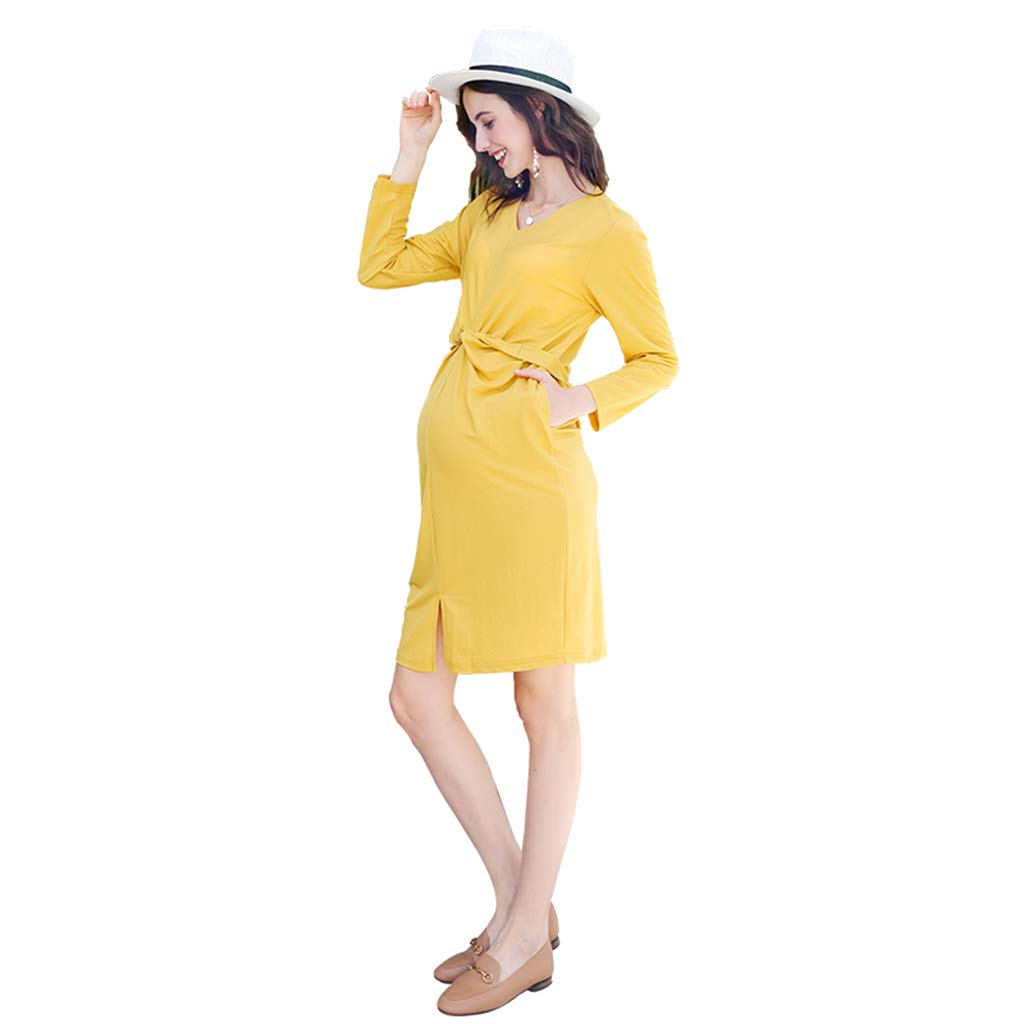 YELLOW Maternity Clothes Pregnant Women Yellow Cotton Dress Adjustable Waist Circumference Outwear Skirt Soft and Snug Pregnant Women Gift (color   Yellow, Size   L)