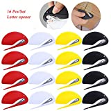 YUJUSER 16 Pieces Envelope Openers - Letter Opener/Slitter - Sharp Blade - Quick, Safe and Easy - Just Insert and Slide - 4X Black +4X White +4X Yellow + 4X Red - Essential Office Tool