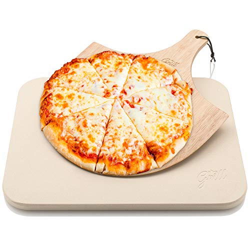 Hans Grill Pizza Stone Baking Stone for Pizzas use in Oven and Grill/BBQ Free Wooden Pizza Peel Rectangular Board 15 x 12 Inches Easy Handle Baking | Bake Grill, for Pies, Pastry Bread, Calzone (Pizza Grill Kit)