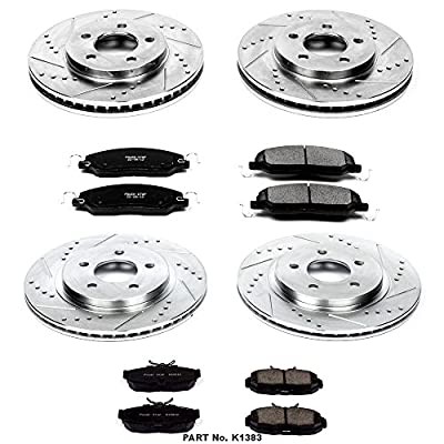 Power Stop K1383 Front & Rear Brake Kit with Drilled/Slotted Brake Rotors and Z23 Evolution Ceramic Brake Pads,Silver Zinc Plated: Automotive