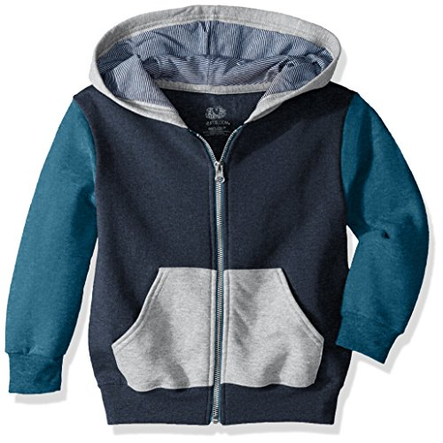 (Fruit of the Loom Boys' Big Fleece Full Zip Hoodie Sweatshirt, T.Blue Amulet Teal Athletic Heather/Smoke Blue Stripe, Small)