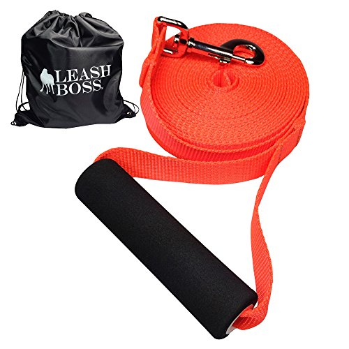 Leashboss Free Range 20 Foot Long Nylon Dog Leash for Large Dogs w/Drawstring Backpack - 1 Inch Wide Heavy Duty Long Training Lead with Padded Handle (20 Ft, 1 in, Bright Orange)