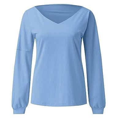 HOUMENGO Mujer Camiseta Mangas Largas V Cuello Dobladillo Elegante ...