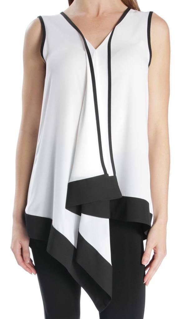 Joseph Ribkoff Black & White Sleeveless Kerchief Hem Top Style 171271 - Size 6 by Joseph Ribkoff
