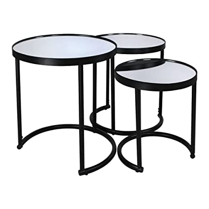 3 Piece Round Coffee Table Set (black)