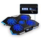 Laptop Cooling Pad, Nobebird Laptop Cooler with 5 Quiet Fans and LCD, Dual