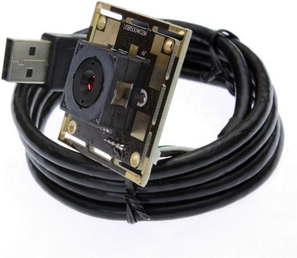 Autofocus USB Camera Webcam Module Mini HD Cameras CMOS OV5640 USB with Cameras,2592X1944 Webcamera,Tiny Home Nanny USB Camera Module Web Cams for Linux,Windows,Win CE (60 Degree autofocus Lens)