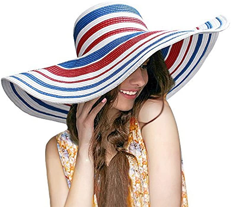87d43978406286 HooYL Beach Sun Hat - Womens Adjustable Striped Straw Floppy Bucket Summer  Sun Hat Floppy Big Brim Hat by (Navy-Stripe), Free Size at Amazon Women's  ...