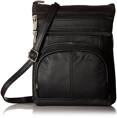 Roma Leathers Genuine Cross Body Purse Bag, Multi-Pocket, Black