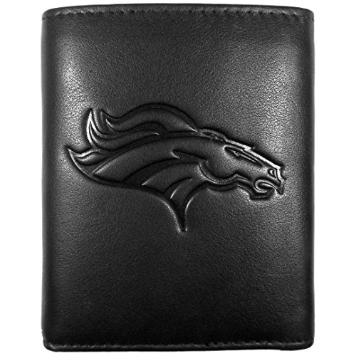 Siskiyou NFL Denver Broncos Embossed Black Tri-fold Leather Wallet