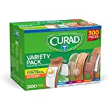 Curad Assorted Bandages Variety Pack 300 Pieces, Including Antibacterial, Heavy Duty, Fabric, and Waterproof Bandages