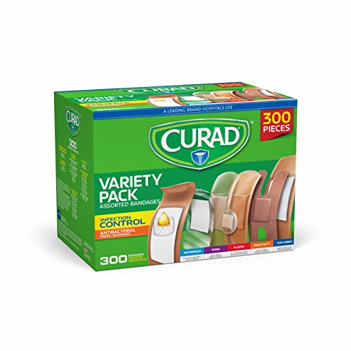 Curad Assorted Bandages Variety Pack 300 Pieces, Including Antibacterial, Heavy Duty, Fabric, and Waterproof - Bandages Band Aid Antibiotic
