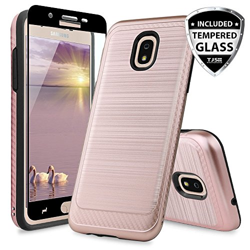 Protector Case Checkers (TJS Galaxy J7 2018/J7 Refine/J7 Star/J7 Eon/J7 TOP/J7 Aero/J7 Crown/J7 Aura/J7 V 2nd Gen Case, with [Full Coverage Tempered Glass Screen Protector] Case Metallic Brush Finish Inner Layer (Rose Gold))