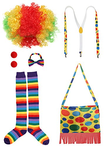Circus Themed Costumes For Adults (JustinCostume Clown Accessories Wig/Hat Socks Nose Bowtie Suspenders, A)