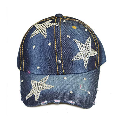 Deer Mum Ladies US Flag Denim Jean Campagne Bling Ajustable Baseball Cap Cowboy Hat (blue07)