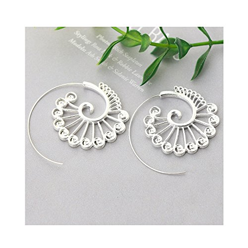 Oval Swirl Ring - Europe and the United States New Oval Spiral Earrings Exaggerated Swirl Gear Heart-shaped Retro Earrings
