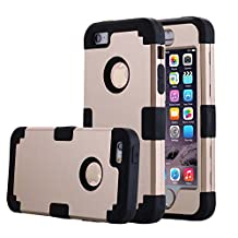 iPhone 5S Case, Phone SE Case, Asstar 3 in 1 Hard PC+ Soft TPU Impact Protection Heavy Duty Shockproof Full-Body Protective Case for Apple iPhone SE / iPhone 5 5S (Glod black)