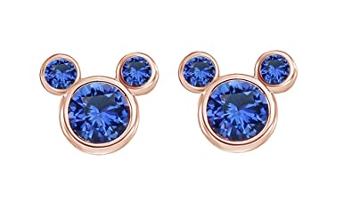 ce626faf1 Blue Sapphire September Birthstone Mickey Mouse Stud Earrings In 14k Rose  Gold Over Sterling Silver