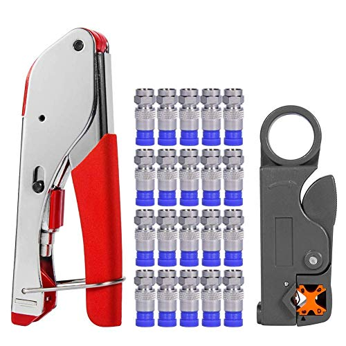 - Coax Cable Crimper, Coaxial Compression Tool Kit Wire Stripper with F RG6 RG59 Connectors