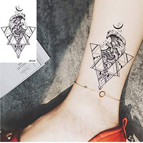 Triángulo Sea Wave Moon Tatuajes Temporales Para Niñas Mujeres ...