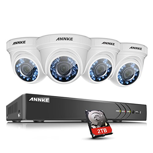 ANNKE 8CH 3.0MP Camera Surveillance System W/ 4X HD 1080P 2.0MP IP66 Weatherproof Surveillance Dome Camera, Super Night Vision, Including 2TB HDD - Kit Ir Dome Dual