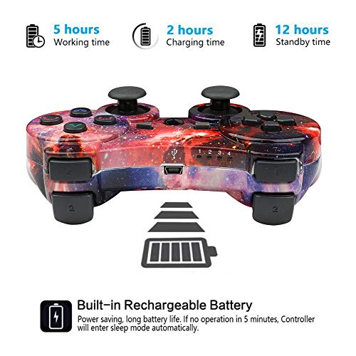 CHENGDAO Wireless Controller 2 Pack Compatible with Playstation 3 with High Performance Double Vibration and Charging…