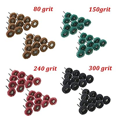 Toolcool 80pcs 80 150 240 300 Grit 25mm Abrasive Wheel Buffing Polishing Wheels for Dremel Rotary Tools