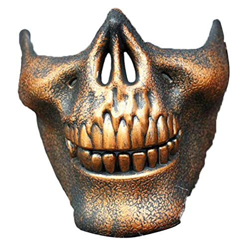 Cozylkx Wargame CS Protective Gear Skull Mask Airsoft Paintball Half Face, Copper -
