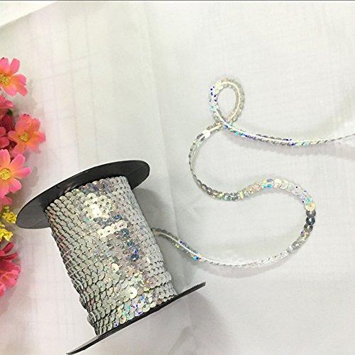 OZXCHIXU(TM) 6mm Sequin Trim Ribbon On A String In Silver (5 Metre Lengths)