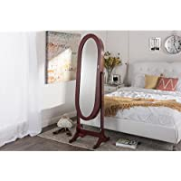 Wholesale Interiors Baxton Studio Apache Brown Finish Wood Oval Shaped Free Standing Cheval Mirror Jewelry Armoire