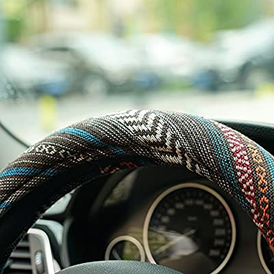LSAUTO 15inch Steering Wheel Cover Ethnic Style Baja Blanket Universal Fit with Memory Foam Ultra-Soft Car Wrap¡­SWC05: Automotive