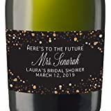 """To Future Mrs"" Mini Champagne Wine Bottle Custom Label Sticker for Bridal Shower Party, Engagement, Wedding Gift, Bachelorette, Elopement Invitation - Specialized Personalized Bespoke Set of 8"