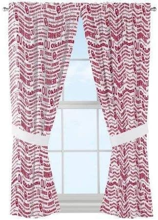 The Northwest Company NCAA Oklahoma Sooners Anthem Window Curtain Panels Set of 2-36 x 48