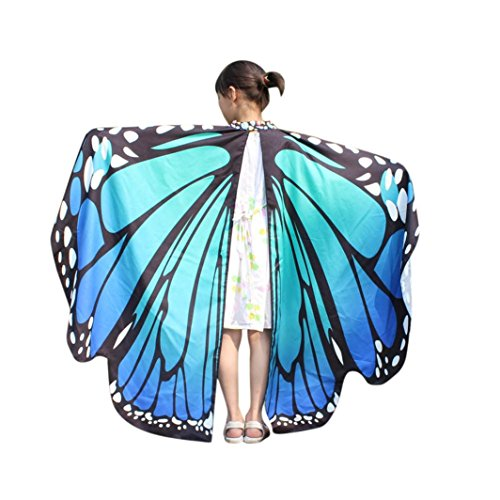 2017 New Kid Girl Halloween Butterfly Wings Shawl Cape Scarf Fairy Poncho Shawl Wrap Costume Accessory (Blue, Free Size) -