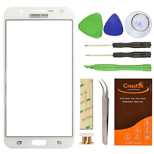 for Samsung Galaxy J7 J700F White Replacement Screen Lens Glass Repair Kit CrazyFire Front Outer Screen Glass Replacement with Adhesive Tape Tools Kit+Tweezers+Roll Micro Wire Screen Separator