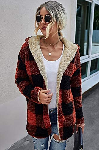 ReachMe Womens Open Front Sherpa Cardigan Reversible Plaid Sherpa Hoodie Fuzzy Fleece Jacket Coat with Hood