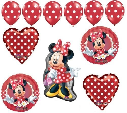 LoonBalloon MINNIE MOUSE Bow Red Polka Dots Hearts (11) Party Mylar & Latex BALLOONS Set