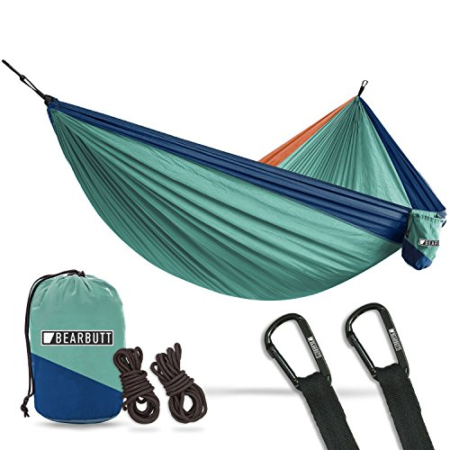 Bear Butt #1 Double Hammock, A Start Up Company Gear at Half The Cost of The Other Guys, Touquoise/Dark Blue/Coral