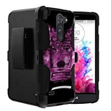 LG G3 Stylus Case | G3 Stylus D690 Case by Untouchble [Heavy Duty Clip] Shock Absorbing Holster Clip| Swivel Clip| 2 Piece Case with Built in Kickstand - Galaxy Wolf